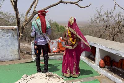 A fourteen-year-old child bride performs rituals with the groom after getting married at a Hindu temple near Rajgarh, in India\'s Madhya Pradesh state in 2017.