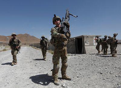 U.S. troops patrol at an Afghan National Army (ANA) base in Logar province, Afghanistan on Aug. 7, 2018.