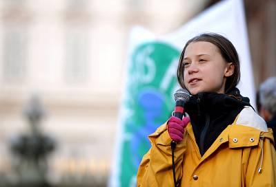 Swedish climate activist Greta Thunberg delivers a speech during the Friday for Future strike on climate emergency, in Turin, on Dec. 13, 2019.