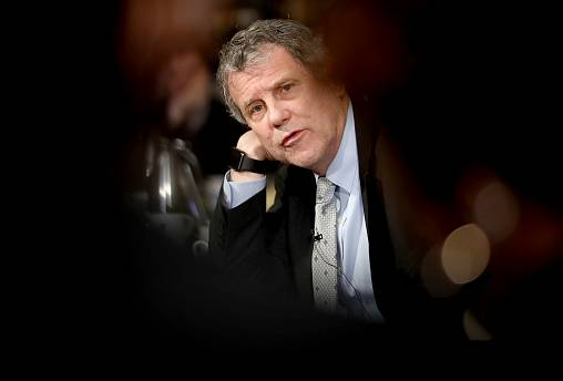 Image: Sen. Sherrod Brown, D-Ohio, answers questions during a round table i