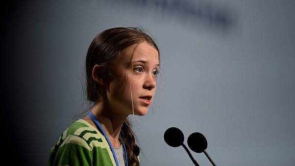 Image: Swedish climate activist Greta Thunberg gives a speech during a high