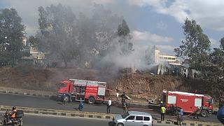 Huge fire guts structures near main police station in Kenyan capital