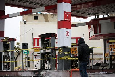 A damaged gas station is seen after gas price hike protests in Karaj district\'s Pardis town in Tehran, Iran, on Nov. 20, 2019.