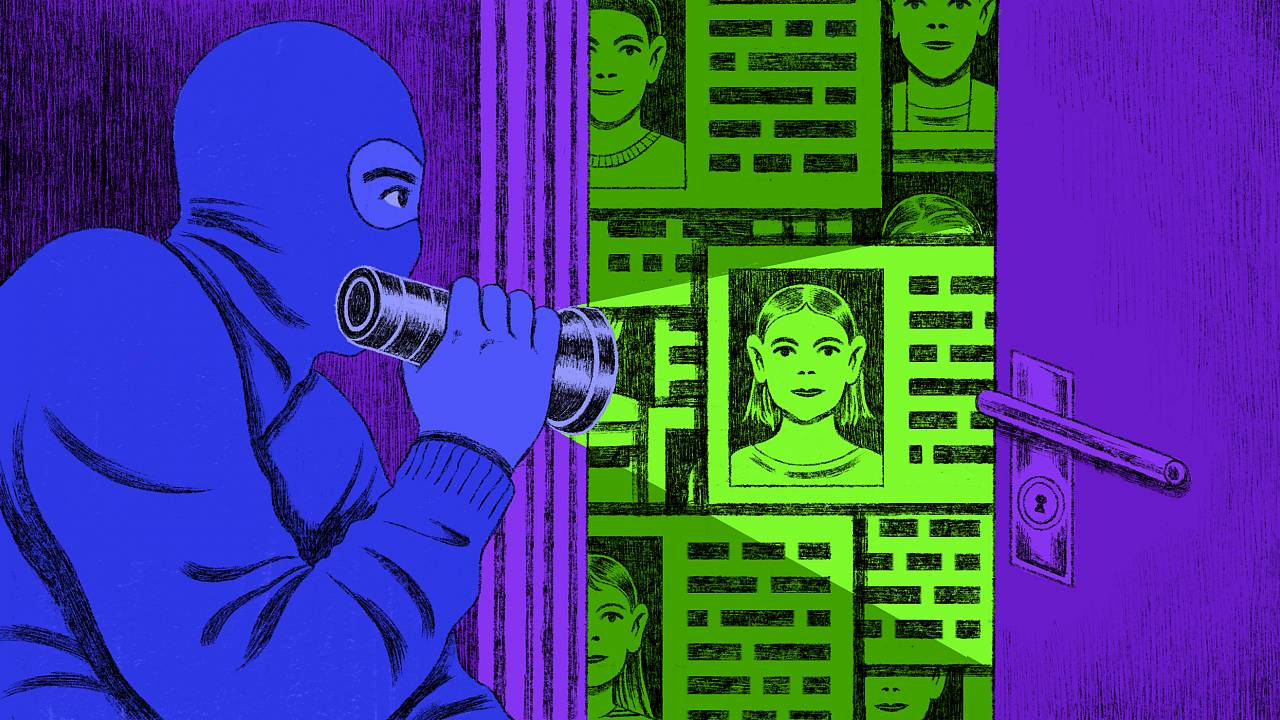 Illustration of thief breaking into a room full of ID cards.