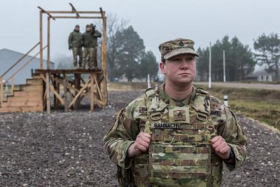 Staff Sgt. Rachael Bannach observes a training exercise in Ukraine on Nov. 26.
