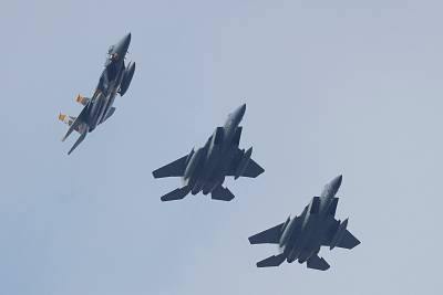 U.S. Air Force F-15 fighter jets fly over Ukraine in October 2018.