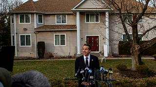 Image: New York Governor Andrew Cuomo speaks at a press conference outside