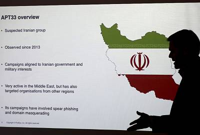 Stuart Davis, a director at one of FireEye\'s subsidiaries speaks to journalists about the techniques of Iranian hacking, in Dubai, United Arab Emirates on Sept. 20, 2017.