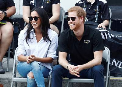 Britain\'s Prince Harry and Meghan Markle watch the wheelchair tennis event during the Invictus Games in Toronto, Ontario, Canada on Sept. 25, 2017.