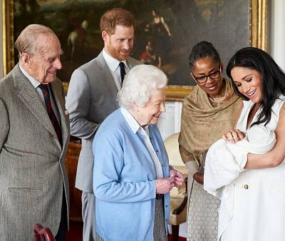 Prince Harry and Meghan, Duchess of Sussex, introduce their newborn son, Archie Harrison Mountbatten-Windsor, to the Duke of Edinburgh, Queen Elizabeth and Meghan\'s mother, Doria Ragland, at Windsor Castle on May 8, 2019.