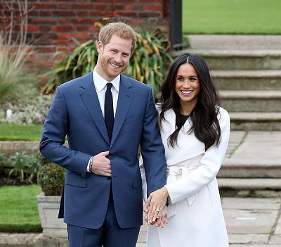Prince Harry and Meghan Markle announce their engagement at The Sunken Gardens at Kensington Palace on Nov. 27, 2017 in London.