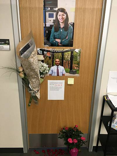 A memorial for University of Alberta professors Mojgan Daneshmand and Pedram Mousavi, who were married and were killed in the Ukrainian airline crash in Iran, is seen outside Mousavi\'s office in Edmonton, Alberta, Canada Jan. 9, 2020.