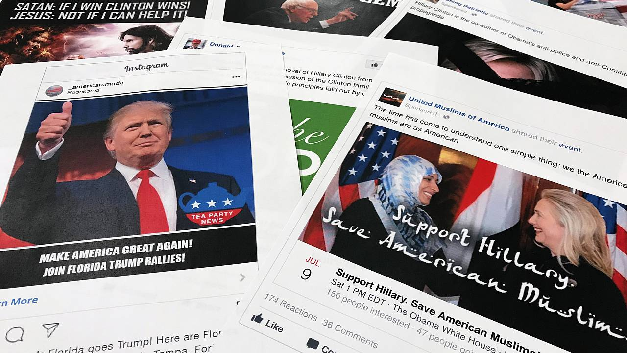 Image: Some of the Facebook and Instagram ads linked to a Russian effort to