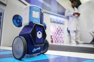 The Charmin Rollbot is demonstrated during CES 2020 at the Sands Expo and Convention Center on Jan. 7, 2020 in Las Vegas, Nev.