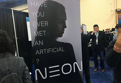 "Neon, a unit of Samsung, promotes a planned launch of an ""Artificial Human"" at the 2020 Consumer Electronics Show (CES) in Las Vegas, Nev., on Jan. 6, 2020."