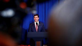 Image: Defense Secretary Mark Esper speaks at a press conference at Mar-a-L