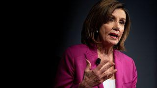 Image: U.S. House Speaker Nancy Pelosi (D-CA) speaks at the Wall Street Jou