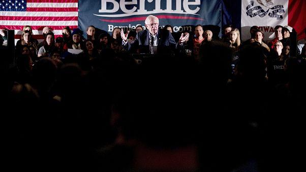 Image: Sen. Bernie Sanders, I-Vt., speaks at a climate rally in Iowa City o