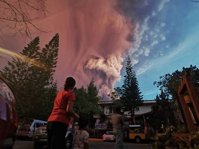 Taal Volcano boomed to life on Sunday, spilling volcanic ash.