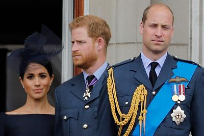 Prince Harry and his wife Meghan split off in June from the charity they ran together with Harry\'s brother Prince William, seen here on the balcony of Buckingham Palace in July 2018.