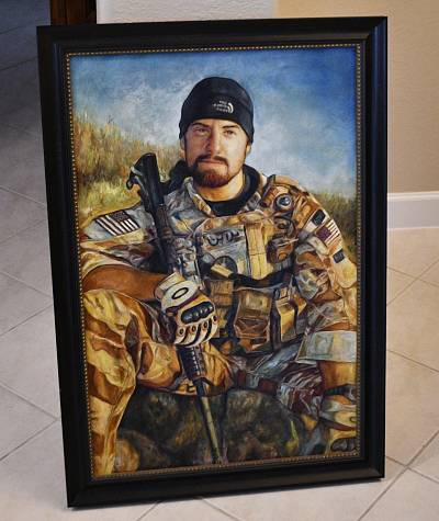 An oil painting of Darren LaBonte hangs in his parents\' house.