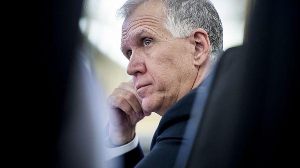 Image: Sen. Thom Tillis, R-N.C., attends a Senate Veterans' Affairs Committ