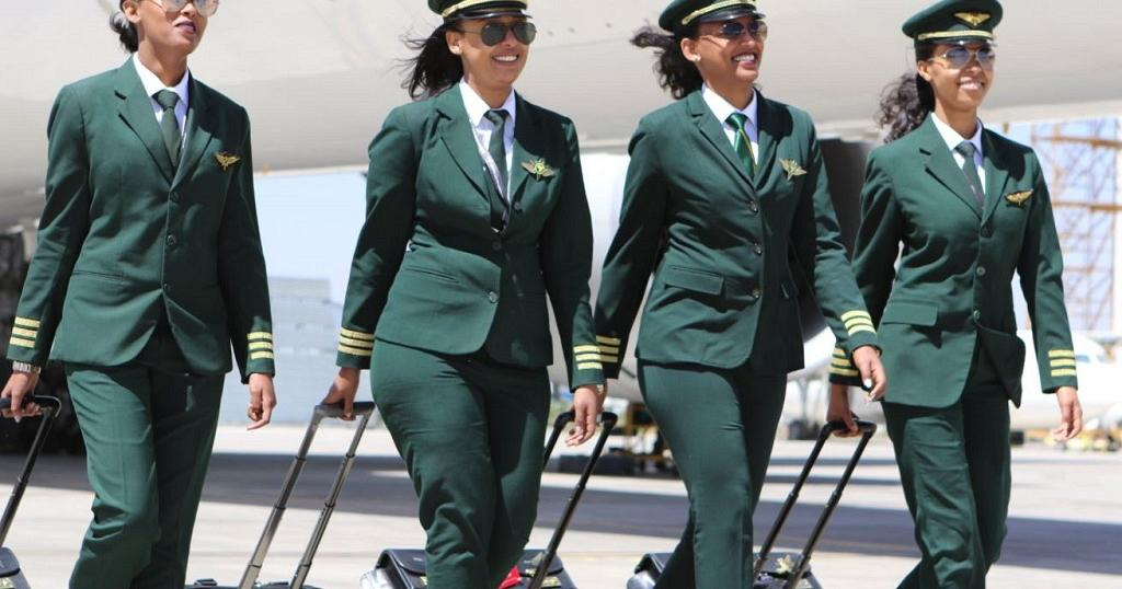 Ethiopian Airlines all - female crew is welcomed by Argentine president