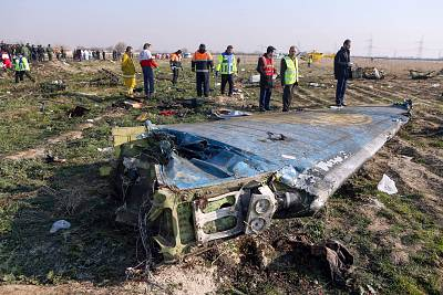 Rescue teams are seen at the scene of a Ukrainian airliner that crashed shortly after take-off near Imam Khomeini airport in the Iranian capital Tehran on Jan. 8, 2020.