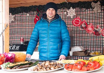 Oleksandr Potapenk, 44, a Christmas market vendor in Kiev, Ukraine.