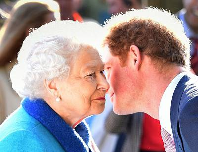 Queen Elizabeth II and Prince Harry attend at the annual Chelsea Flower show at Royal Hospital Chelsea on May 18, 2015.