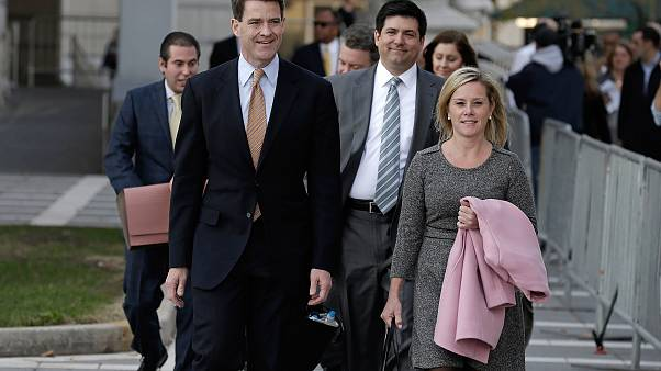 Bill Baroni, left, and Bridget Anne Kelly exit the federal courthouse in Ne