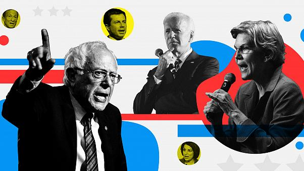 The candidates in the seventh Democratic presidential debate.