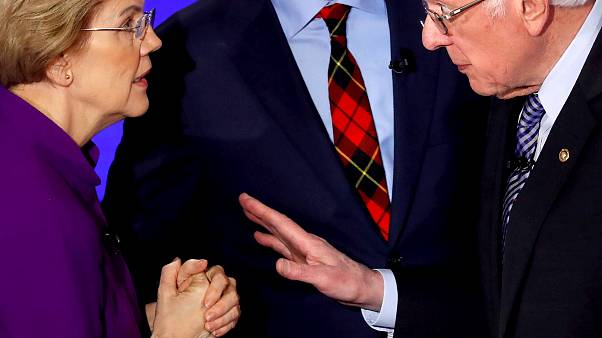 Image: Sen. Elizabeth Warren and Sen. Bernie Sanders speak after a Democrat