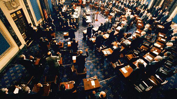 Image: Supreme Court Chief Justice William Rehnquist swears in senators to