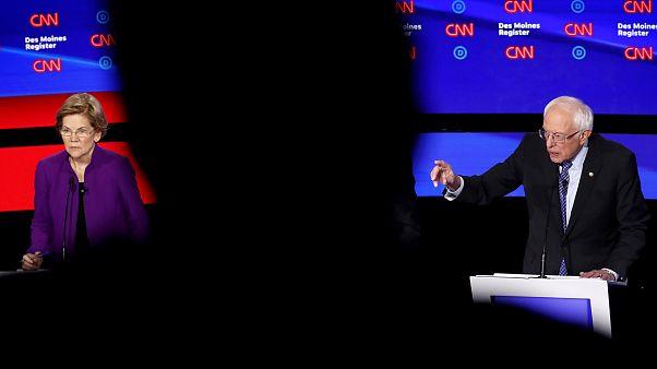 Image: Sen. Elizabeth Warren, D-Mass., and Sen. Bernie Sanders, I-VT, parti