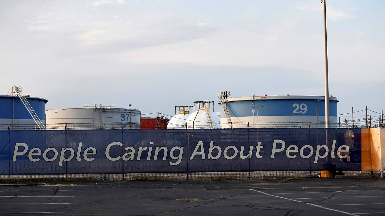 Image: A banner outside of the Philadelphia Energy Solutions refinery on Au
