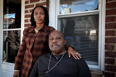Tammy and Charles Reeves outside their home in Grays Ferry, South Philadelphia, near the Philadelphia Energy Solutions refinery. The Reeves, who founded the Tasker-Morris Neighborhood Association, say they believe their community\'s health has suffered as a result of living in the shadow of the refinery.