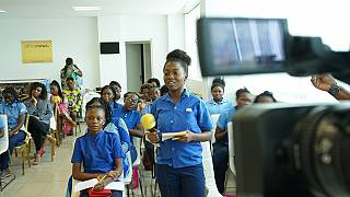 Congolese school girls visit Africanews to commemorate the IWD 2018 [No Comment]
