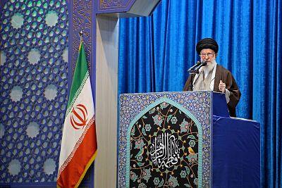 Iran\'s Supreme Leader Ayatollah Ali Khamenei delivers Friday prayers sermon, in Tehran, on Jan. 17.