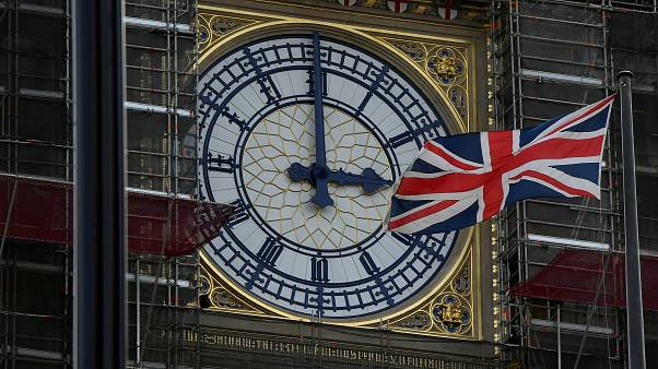 Image: FILE PHOTO: British Union Jack flies in front of the clock face of t