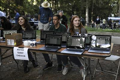 Student volunteers man the tables at a campaign event for Bernie Sanders on Sept. 29, 2019, at Dartmouth College in Hanover, N.H.