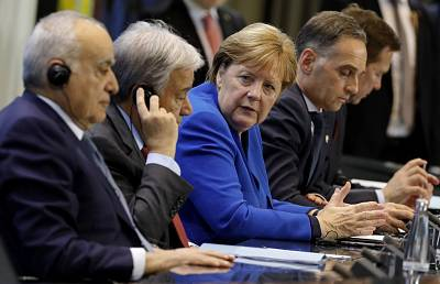 U.N. Special Envoy for Libya, Ghassan Salame, Secretary General of the United Nations, Antonio Guterres, German Chancellor Angela Merkel and German Foreign Minister Heiko Maas attend a press conference in Berlin on Sunday.