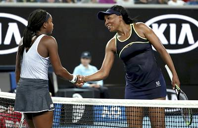 "Venus Williams, right, congratulates Cori ""Coco"" Gauff after Gauff won their first-round singles match at the Australian Open on Monday."