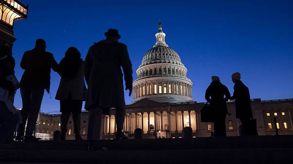 Image: Night falls on the Capitol, Wednesday evening, Jan. 22, 2020, during