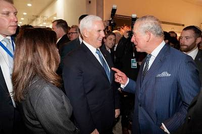 Vice President Mike Pence and Prince Charles talk before an event at the Yad Vashem Holocaust memorial on Jan. 23, 2020.