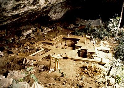The rock shelter at Shum Laka in Cameroon. The ancient people who lived at this rock shelter are not related to the people in the region today.