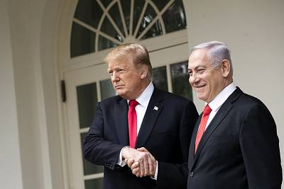 Trump and Netanyahu meet outside the Oval Office last March.