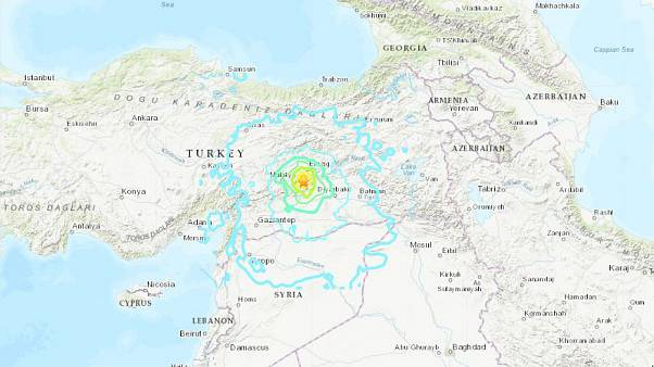 A map shows the epicenter of a 6.7 magnitude earthquake in eastern Turkey o