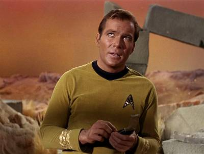 Canadian actor William Shatner glances upwards in a scene from an episode of the television series \'Star Trek\' entitled \'The Man Trap,\' 1966.