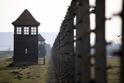 The watchtowers of former Nazi German Auschwitz-Birkenau concentration camp complex in Oswiecim, Poland.